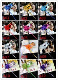 Wholesale Celebrity Masks Wholesale - Masquerade Party plastic Masks On stick with cloth lace and side Flower masks for Masquerade Ball Black White colorful party Masks LB53
