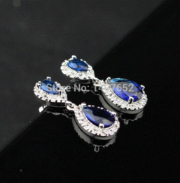 Wholesale Blue Topaz Drop Earrings - Silver Jewelry White Topaz Blue Sapphire Women Drop Earring Magic Christmas Gift Free Jewelry Box DE73