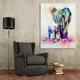 Wholesale Mother Child Oil Painting - Handmade Modern Abstract Decorative The Elephant Mother and her Child Oil Painting On Canvas Wall Art For Living Room As Unique Gift