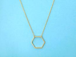 Wholesale Silver Neckalces - 10pcs lot N4 Silver Gold Geometric Hexagon Necklace Simple Sexangle Neckalces Open Line Hive ]Necklace Jewelry for Women