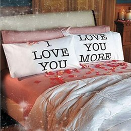 Wholesale Valentine Pillow Case - 75*50cm Christmas Pillow Case for Bedroom Home Decoration Anniversary Valentine Day Soft White I Love You Love You More Sofa Throw Covers