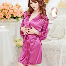 Wholesale Wedding Dress Shirt For Women - Wholesale-Hot Sale 40Kg-90Kg Large Size Sexy Satin Night Robe Lace Bathrobe Perfect Wedding Bride Bridesmaid Robes Dressing Gown For Women