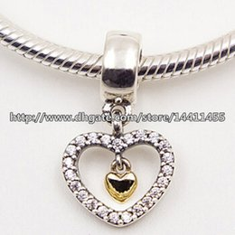 Wholesale Pink Forever - 925 Sterling Silver & 14K Real Gold Forever in My Heart Dangle Charm Bead with Cz Fits European Pandora Jewelry Bracelets & Necklaces