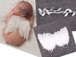 Wholesale Wholesale Christening - 5SET Infant Baby olive leaves Leaf Headband White Feather Angel Wing Couture Newbron Christening hair band Photography Props Set YM6129