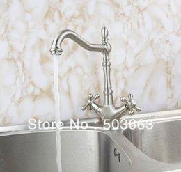 Wholesale Vanity Sinks Bowls Faucets - Wholesale Deck Mounted 2 Handle Design Nickel Brushed Kitchen Sink Faucet Vanity Mixer Tap Crane S-134 Mixer Tap Faucet