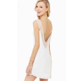 Wholesale White Lace Summer Dresses - Beach dress women clothes fashion summer cheap casual plus size white dresses for women lace stitching chiffon halter maxi chiffon dress