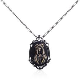 Wholesale White Gold Cameo - Miss Skeleton Black Ornate Victorian Necklace White Black Lolita Skull Skeleton Girl Cameo Jewelry Punk Necklace for Women