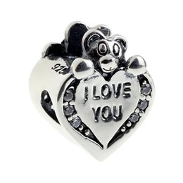 Wholesale I Teddy - Beads Hunter Jewelry Authentic solid 925 Sterling Silver I Love You Heart with Teddy Bear Charm bead For 3mm European Bracelet snake chain