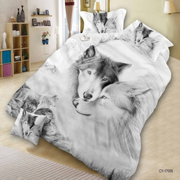Wholesale Duvet Cover Queen Gray - Home Textile 3D Print Wolf Bedroom Furniture Queen Size 4PCS Polyester Bedding Set Quilt Cover Bed Sheet 2*Pillowcase