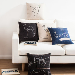 Wholesale Picasso Print Abstract - Free shipping novelty gift picasso sketch abstract painting camel pigeon pattern bird cushion cover home decorative throw pillow case