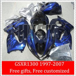 Wholesale Hayabusa Painted Fairing Kits - Racing ABS Fairing Kits Of Suzuki 97 98 99 00 01 02 03 04 05 06 07 GSXR1300 GSX-R1300 GSXR 1300 Blue Hayabusa Custom Painting Body Cover