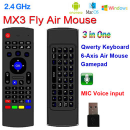 Wholesale Laptop Minis - X8 2.4Ghz Wireless Keyboard MX3 with 6 Axis Mic Voice 3D IR Learning Mode Fly Air Mouse Backlight Remote Control for Android Smart TV Box