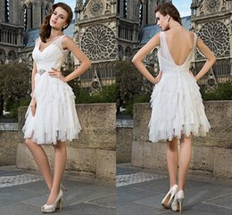 Wholesale Wedding Dresses For Outdoors - Trendy Style Fashion Color V Neck Tiered Outdoor Wedding Dress Quality romantic Knee-length Wedding Dresses bubble Lace for Wedding