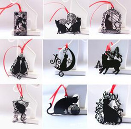 Wholesale Birthday Gift Book - 10pcs Stainless Steel Black Cat Bookmark Book card For Wedding Baby Shower Party Birthday Favor Gift Souvenirs Souvenir