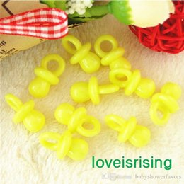 Wholesale Birthday Cake Decorating Supplies - New Arrivals--200pcs 22mm*11mm Mini Acrylic Solid Yellow Baby Pacifier Baby Shower Favors~Cute Charms ~cupcake decorating