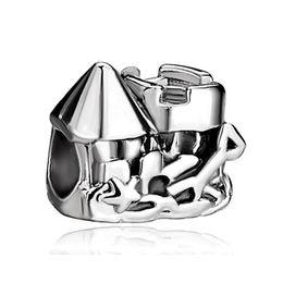 Wholesale Pandora Castle - 10 pcs per lot Alloy Material With Rhodium Plating sea castle European Beads For Pandora Bracelet