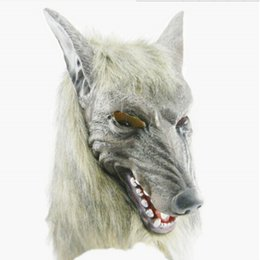 Wholesale Gray Masquerade Masks - Retail Terror Devil Gray Wolf Masquerade Latex Masks Halloween Dress Up Prop Animal COSPLAY Costume Mask For Party Free Shipping