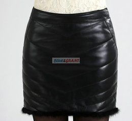 Wholesale Genuine Leather Skirts - FREE SHIPPING New BLUEGRANT Fashion 100% SHEEP REAL LEATHER Sexy Hot Wholesale Retail Quality LEATHER DOWN PADDING FUR SKIRT OEM &ODM
