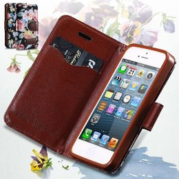 Wholesale Deluxe Iphone 5c Case - 5C Flower Floral Case Deluxe PU Leather Cover For iPhone 5C Full Wallet Protect Skin Card Slot Stand Function Phone Cover Case