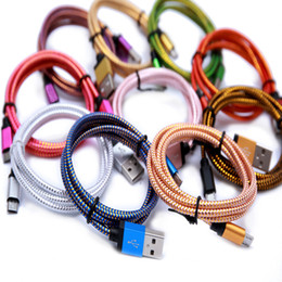Wholesale Head Phone Mobile White - 1M 3FT Micro USB Metal Head Braided Data Charger Cable Fabric Knit Charging Cord Color Changing For Mobile Phone Smartphone 200pcs up