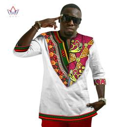 Wholesale Wax Prints Fashion - Traditional Africa Wax T shirt Three Quarter Sleeve Print Dashiki Men Fashion Tops WYN57