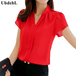 Wholesale works bell - Wholesale- UbdehL Brand women body blouse shirt short sleeve V neck white red pink blue summer autumn female clothing korean work wear tops