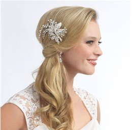 Wholesale Bridal Earrings Headpiece - Charming 2015 White Bridal Comb Crystal Beads Flower Headpieces Hair Pin Wedding Tiaras Bride Accessories Jewelry For Ladies
