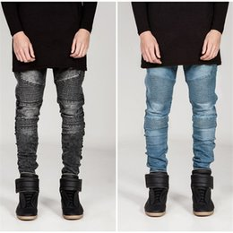 Wholesale Blue Skinny Jeans For Men - Hi-Street Mens Biker Jeans Motorcycle Slim Fit Washed Black Grey Blue Moto Denim Pants Joggers For Skinny Men AY724