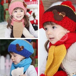 Wholesale Knit Beret Scarf Set - Wholesale-(Hat+Scarf)Winter Beret For Little Girl&Boy Warm Scarf Outfit Children's Wool Knitted Hat Wholesale Or Retail(2-5 Years