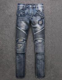 Wholesale Medium Pencil - 2017 Famous Brand Paris mens Destoryed biker denim ripped jeans New Men blue Biker Jeans High Quality