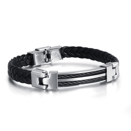 Wholesale Twisted Wire Silver Bracelet - Topsale Men Holiday Gift Genuine leather Jewelry Stainless Steel Twist Wire Rope Fashion Silver&Black Bracelet Bangle 8mm 8.66''