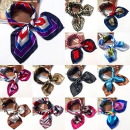 Wholesale Silk Satin Head Scarves - Wholesale- 19 Colors High Soft Silk Square Scarf Scarves Bandanas Head Wrap Shawl Satin Stewardess