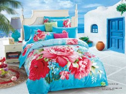 Wholesale Blue Floral Sheet Sets - peony blossom blue floral bedding bedspreads 100% cotton queen king reversible duvet cover flat sheet 4 5pc comforter sets home textile
