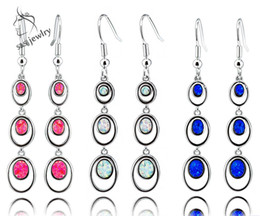 Wholesale Earring Strings - New Arrival 3 Colors Long Strings Fire Opal Earrings 925 Sterling Silver Unique Charm Earrings for Women Fashion Jewelry ER080
