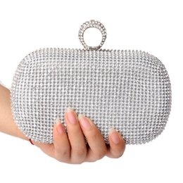 Wholesale Silver Crystal Clutch Purse - NEW Rhinestones women clutch bags diamonds finger ring evening bags crystal wedding bridal handbags purse bags holder