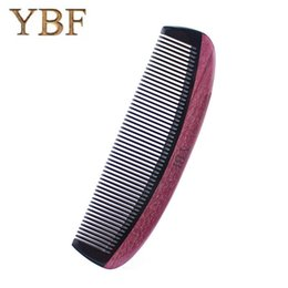 Wholesale horn products - YBF quality product Ox Horn Purleheart combs wooden craft fashion special gift hair makeup professional brush
