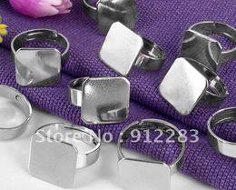 Base do anel de atacado on-line-Atacado-Free Shipping 100pcs 15 milímetros Square cobre ajustável Ring Back / Base, achados de jóias de moda
