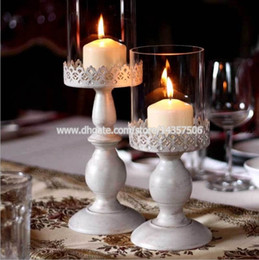 Wholesale Wall Mounted Candleholder - Vintage White Iron Candle Holder Wedding Centerpiece w  Glass Shade European Bellocchi Carved Lace Pattern 12.5 inch Medium Size