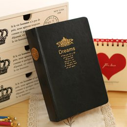 Wholesale Thick Notepad - 2016 New Dream Thick PU Diary Notebook with Golden Edges as Gift Personal Diary Travel Journal Planner