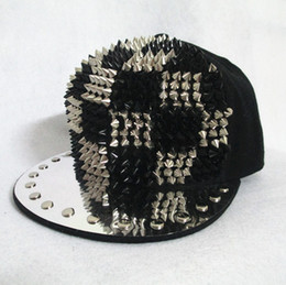 Wholesale Baseball Caps Spikes - fashion New hot Bigbang jazz hat baseball cap Men  Women Spike Studs Rivet Cap Hat Punk style Rock Hiphop For Pick