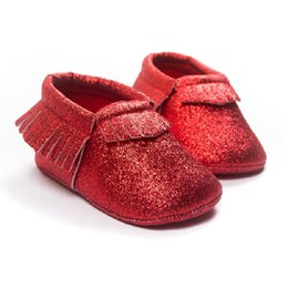 Wholesale Wholesale Red Baby Socks - New Year Baby Girl Shoes Party Bling Baby First Walkers Children's Moccasins 3pairs lot Tassel Leather Shiny Toddler Fringe Sock
