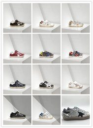 Wholesale Sneakers Diamonds - GGDD Gooses Couples Women Super Star Sneakers Shoes Men Scarpe Donna Uomo Super Star Sneakers In Leather With Suede Star Black Diamond Cream
