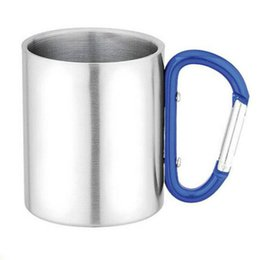 Wholesale Steel Camp Mug - Wholesale-220ml Outdoor Stainless Steel Coffee Mug Travel Camping Cup Carabiner Aluminium Hook Double Wall Camp