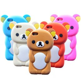 Wholesale Rilakkuma Iphone 4s Cases - New 3D Cute Bear Rilakkuma Soft Silicone Case Cover Skin Gel Rubber Animal Cartoon Cases for iPhone 6 6plus 5 5s 5c 4s Samsung Galaxy S4 S3