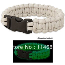 Wholesale Paracord Military Cord - Glow in the dark Paracord parachute cord Military Survival Bracelet glow in the dark bracelet
