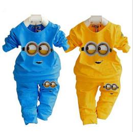 Wholesale Despicable Baby Clothes - fashion baby garment kids clothing sets cotton Despicable me minion girl boy clothing children sport suit cartoon clothes