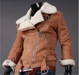 Wholesale Cheap Winter Leather Jackets - Fall-Cheap Winter Lamb Shearling Mens Motorcycle Leather Jacket Suede Fake Lined Short Faux Fur Coats For Men Black Brown M-2XL