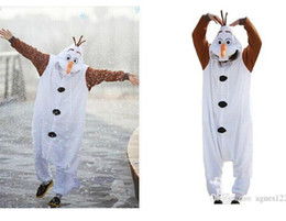 Wholesale Traditional Dress Cosplay - Anime Costume Pajamas Frozen Olaf Snowman Cosplay White jumpsuit Adult Onesie Pyjamas Party Dress In Stock new style free shipping