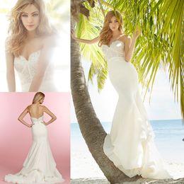 Wholesale Hayley Paige - Hayley Paige Wedding Dresses Gorgeous Mermaid Sweetheart Sleeveless Lace Bodice Empire Zipper Back Beach Bridal Gowns Plus Size Dresses