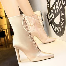 Wholesale Gothic High Heels - Shoes Woman Lace Up Half Boots Pointed Toe Zipper Bota Feminina Stiletto High Heels Gothic Boot Hollow Out Shoes Black Champagne